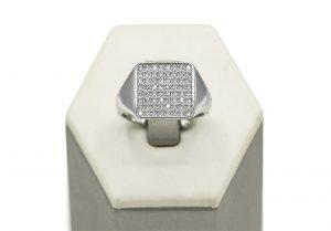 anello argento quadrato